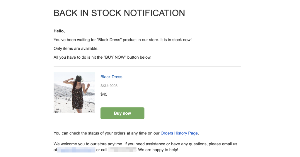 back in stock email notification