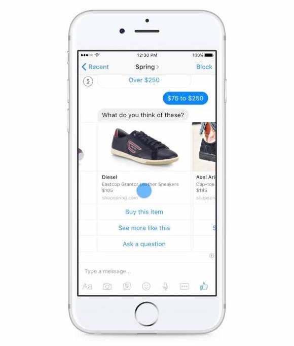 facebook messenger marketing - product recommendations